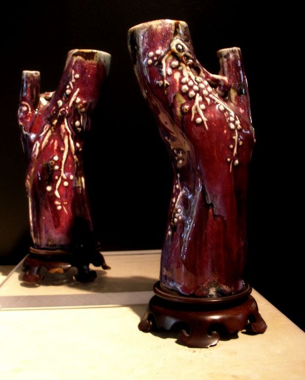 Qing Pair of Chinese 18th Century Flambe Glazed Trunk Form Vases For Sale