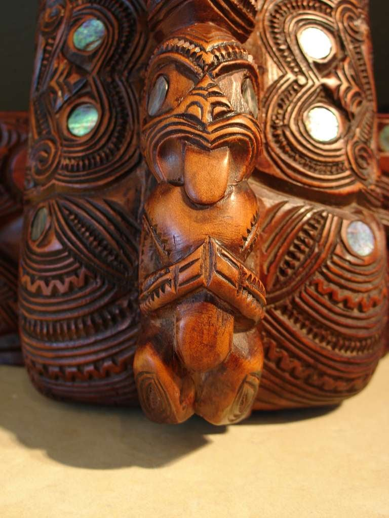 A Carved Maori Treasure Box For Sale 2