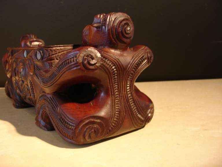 Wood A Carved Maori Treasure Box For Sale
