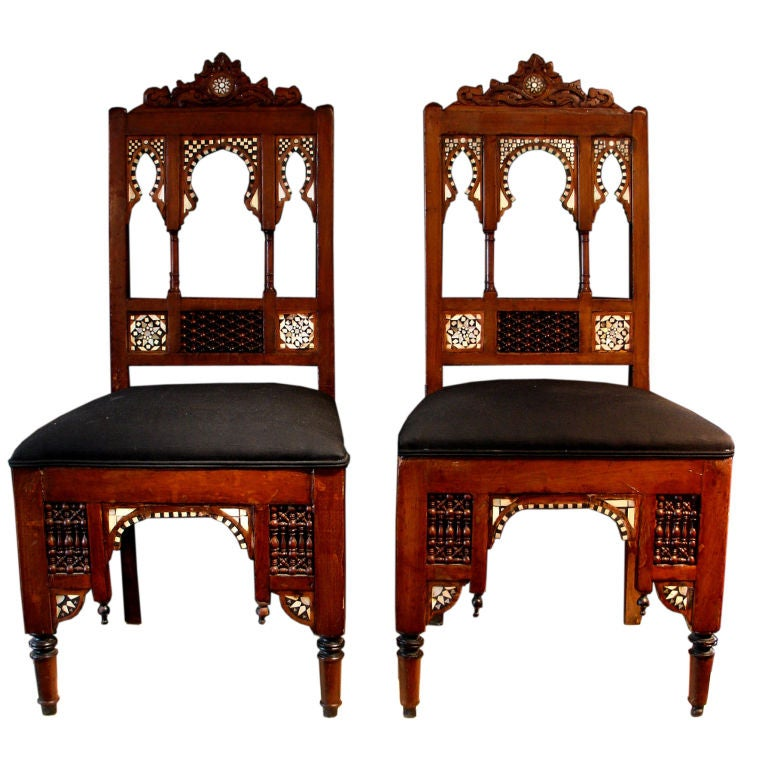Beautiful A Pair Of Moroccan Bone And Mother Of Pearl Inlaid Chairs 1