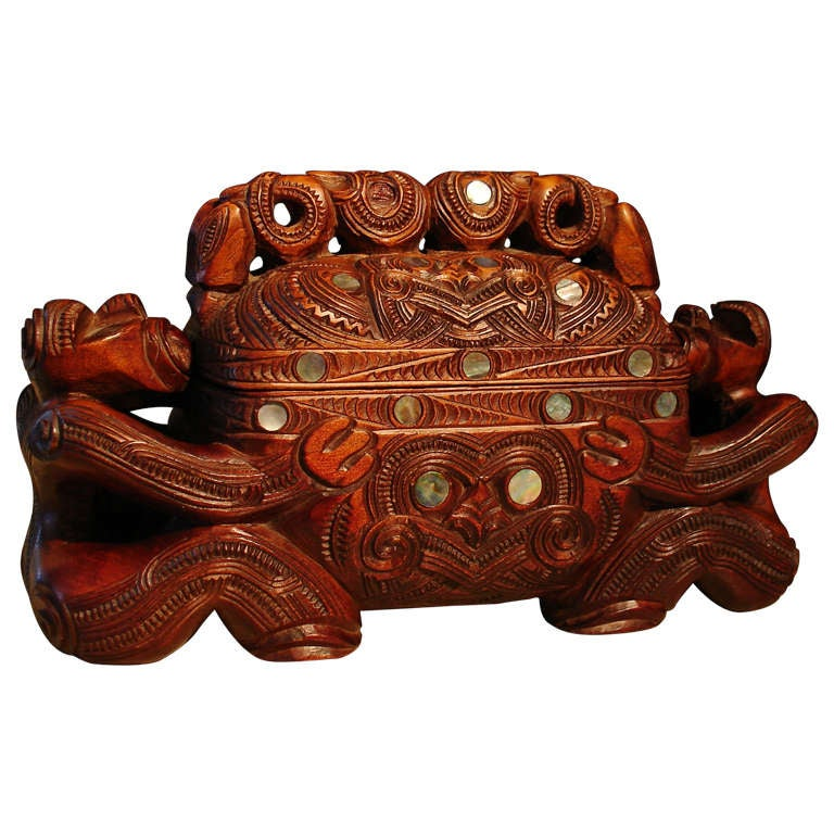 A Carved Maori Treasure Box For Sale