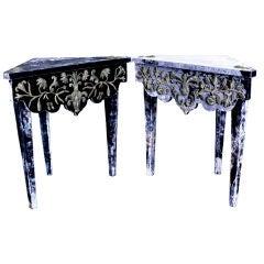 A Pair of Velvet Covered Corner Tables