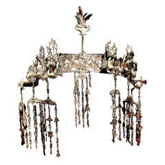 A Chinese Ming Dynasty Silver Nine Phoenix Coronet