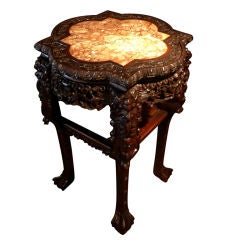 A Chinese Export Quatrefoil  Marble Top Table