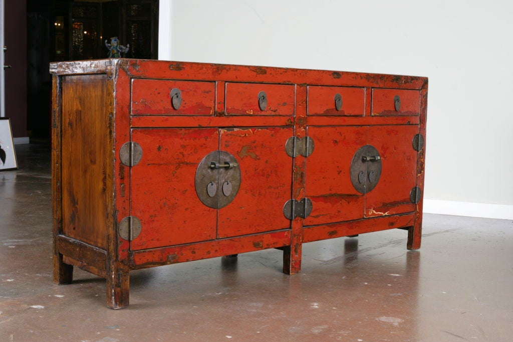 Awesome A Chinese Red Lacquer Sideboard Buffet 2