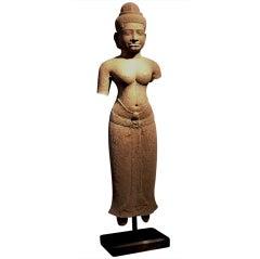 Khmer Sandstone Figure of a Female Deity