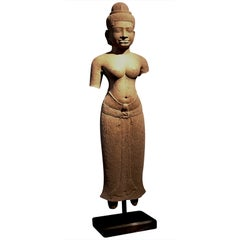 Khmer Sandstone Figure of a Female Deity