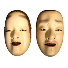 A Pair of Japanese Noh Masks