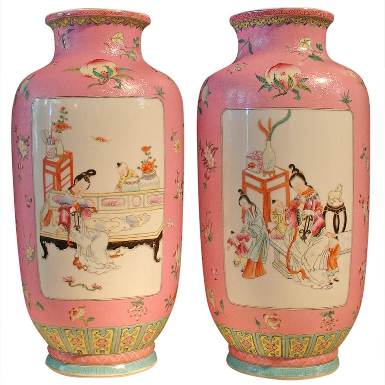 Pair of Chinese Famille Rose Sgraffito Rouleau Vases