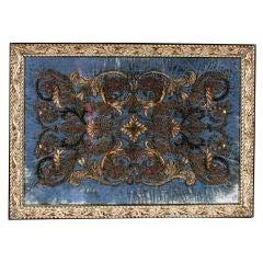 A Framed Metallic Embroidered Blue Velvet Panel