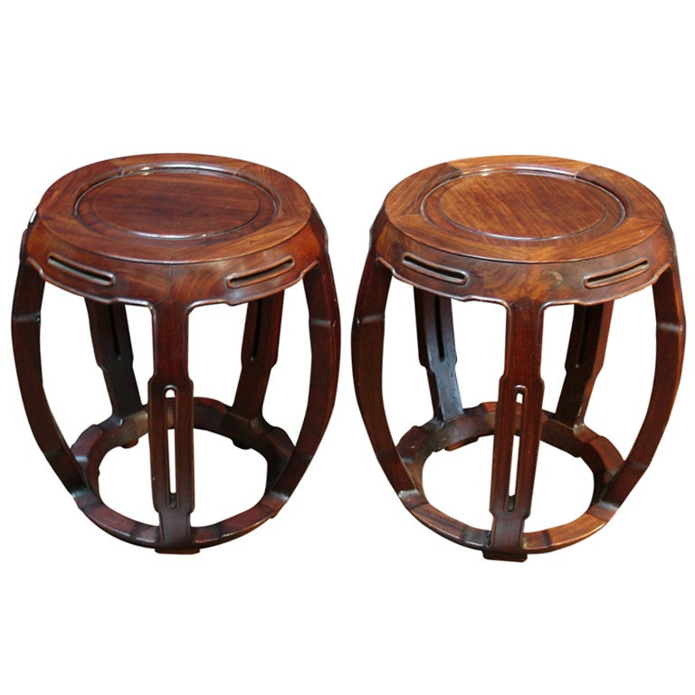 A Pair Of Chinese Rosewood Drum Form Stools At 1stdibs