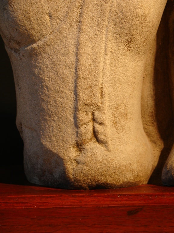 18th Century and Earlier 16th Century Thai Ayutthaya Sandstone Torso of the Buddha For Sale