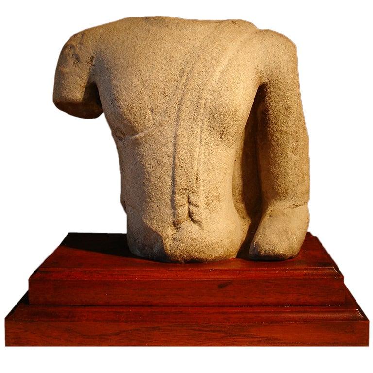 16th Century Thai Ayutthaya Sandstone Torso of the Buddha For Sale