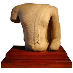 16th Century Thai Ayutthaya Sandstone Torso of the Buddha