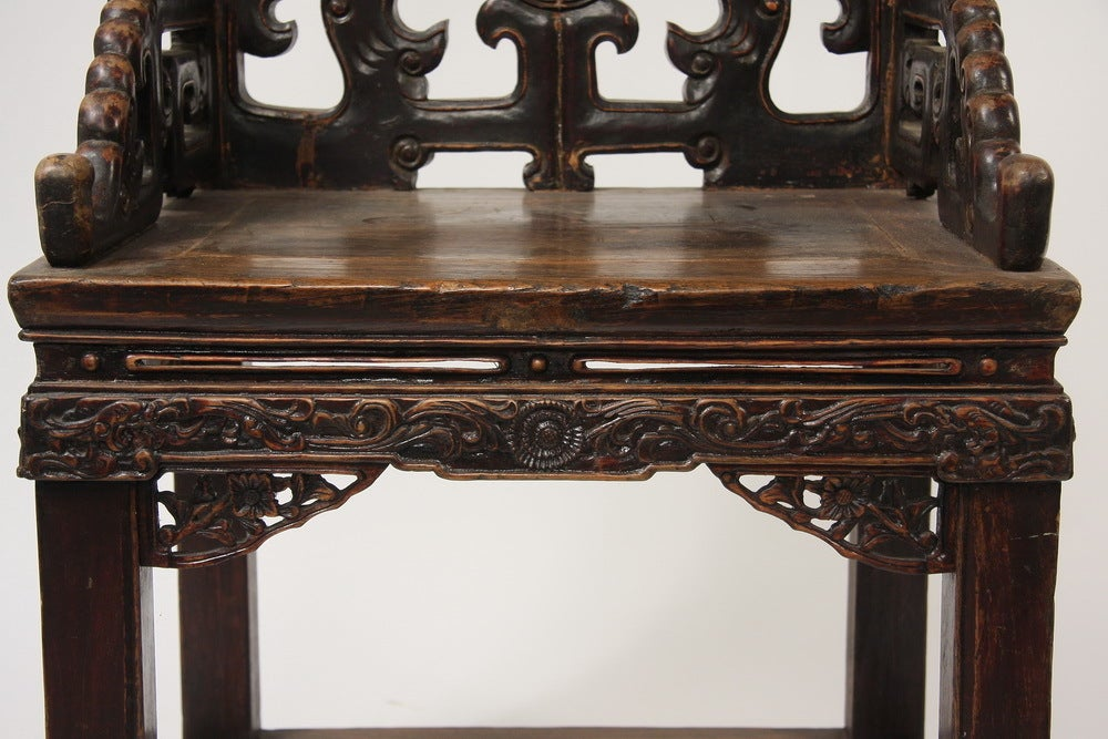 Pair of Qing Dynasty Chinese Carved Walnut Armchairs 'Fushouyi' In Good Condition For Sale In Austin, TX