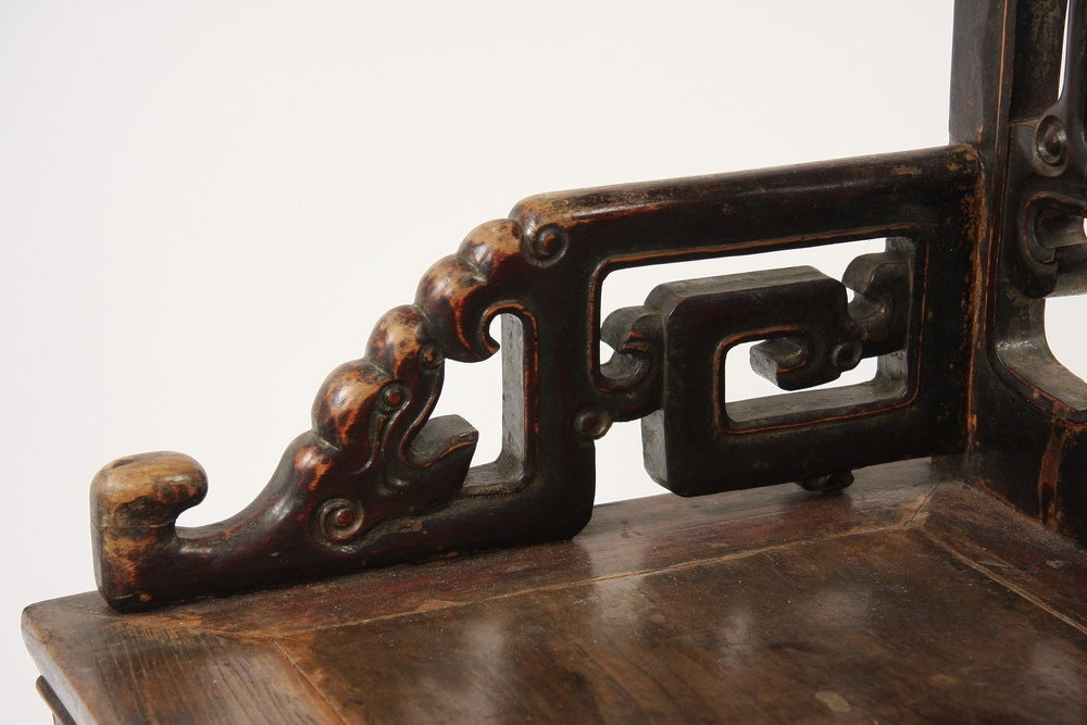 19th Century Pair of Qing Dynasty Chinese Carved Walnut Armchairs 'Fushouyi' For Sale