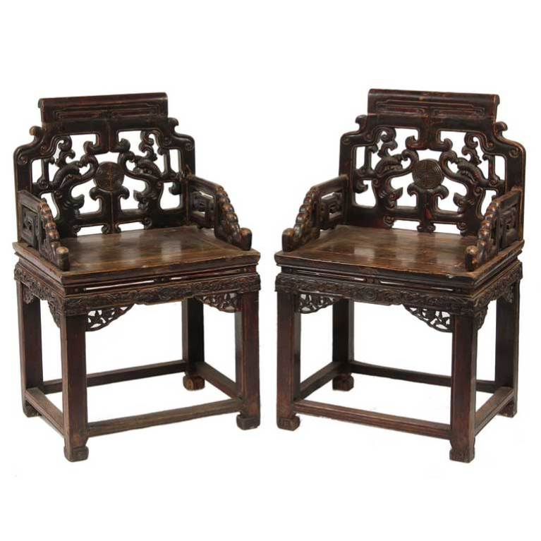 Pair of Qing Dynasty Chinese Carved Walnut Armchairs 'Fushouyi'