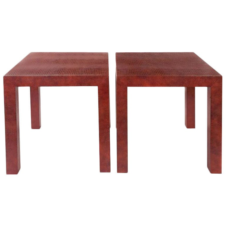 Pair of Red Patent Leather Croc Embossed Parsons Side Tables, 1980s