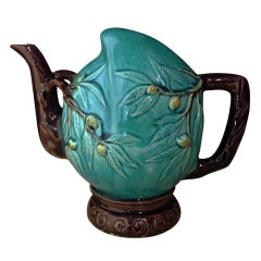 Chinese Turquoise and Aubergine Glazed Cadogan Wine or Tea Pot