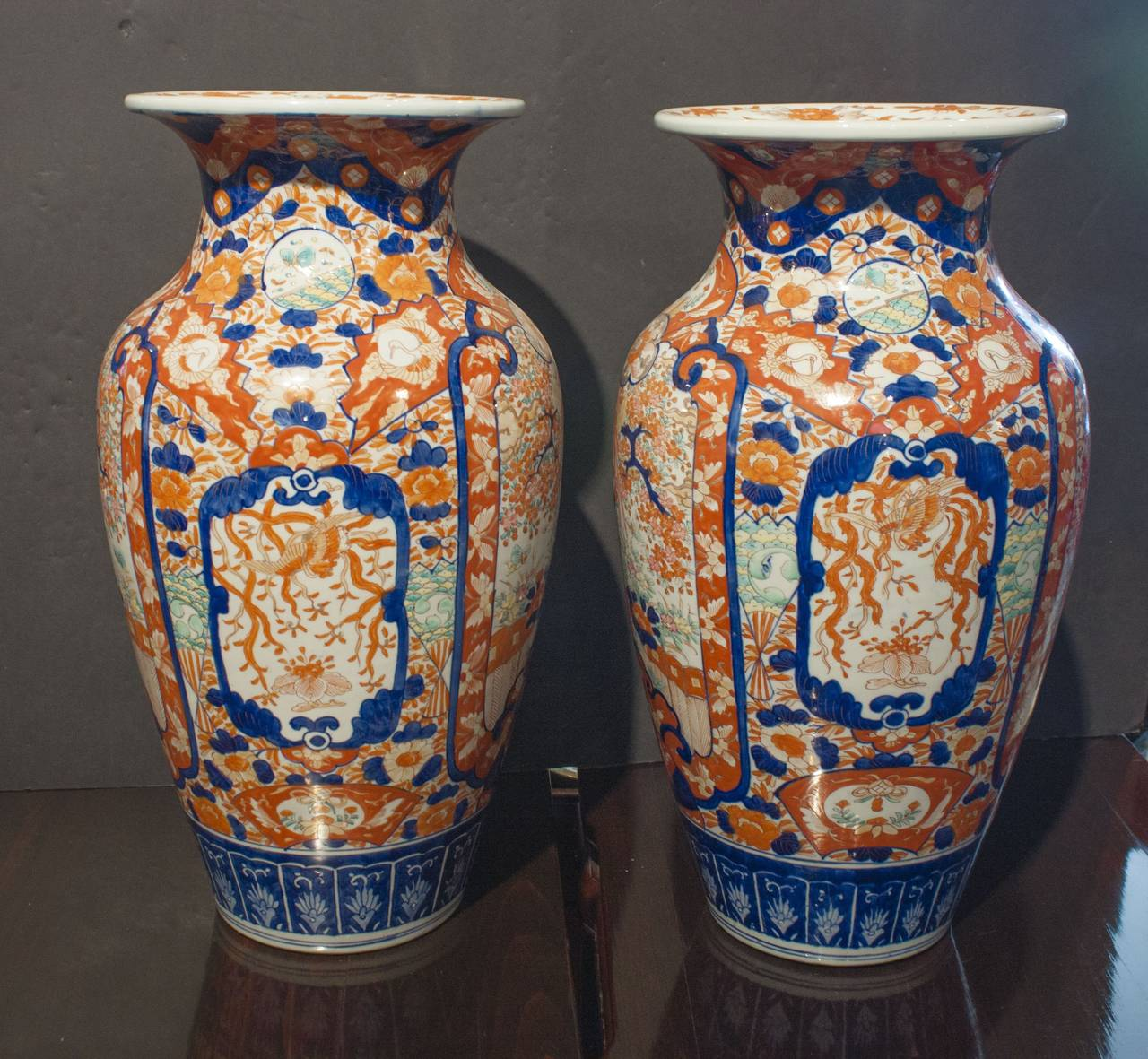 Pair of japanese imari tall vases at 1stdibs meiji period late 19th century japan two densely potted baluster form vases reviewsmspy