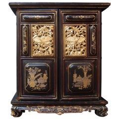 Chinese Lacquered and Gilt Shrine