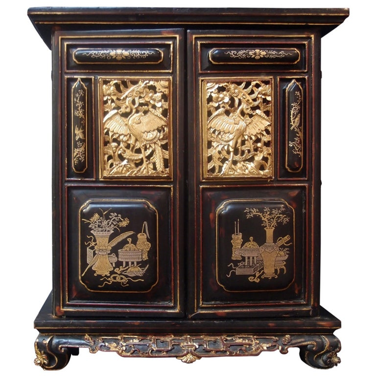 Chinese Lacquered and Gilt Shrine For Sale