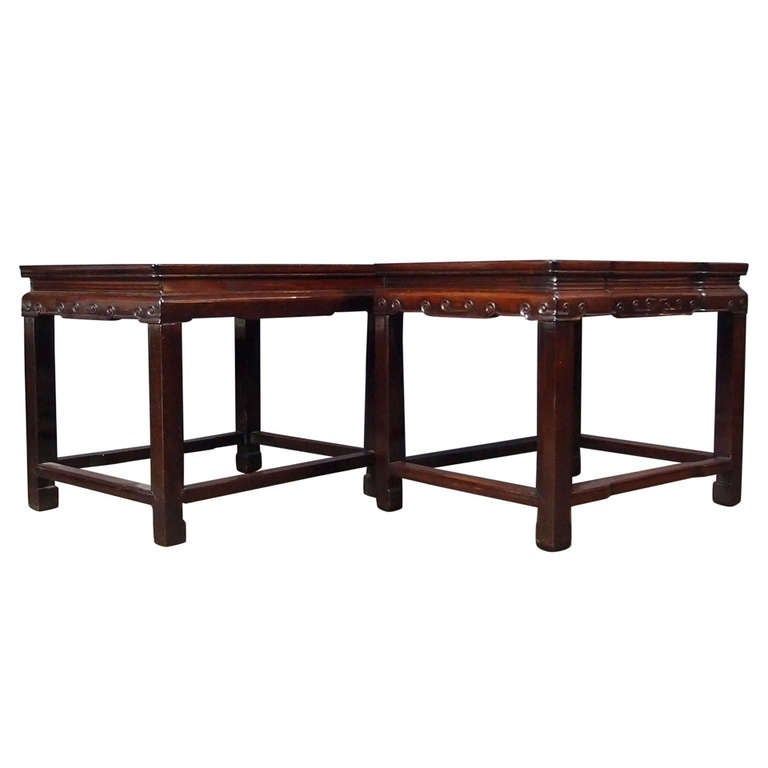 Pair of Qing Dynasty Chinese Rosewood Rectangular Side Tables, 19th Century