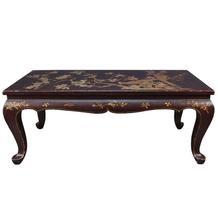 Chinoiserie Brown Lacquer and Gilt Decorated Coffee Table
