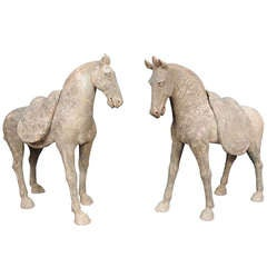 Pair of Tang Dynasty Grey Pottery Striding Horses with Removable Saddles