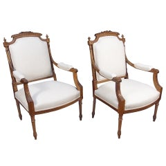 Pair of French Louis XVI Style Fateuils