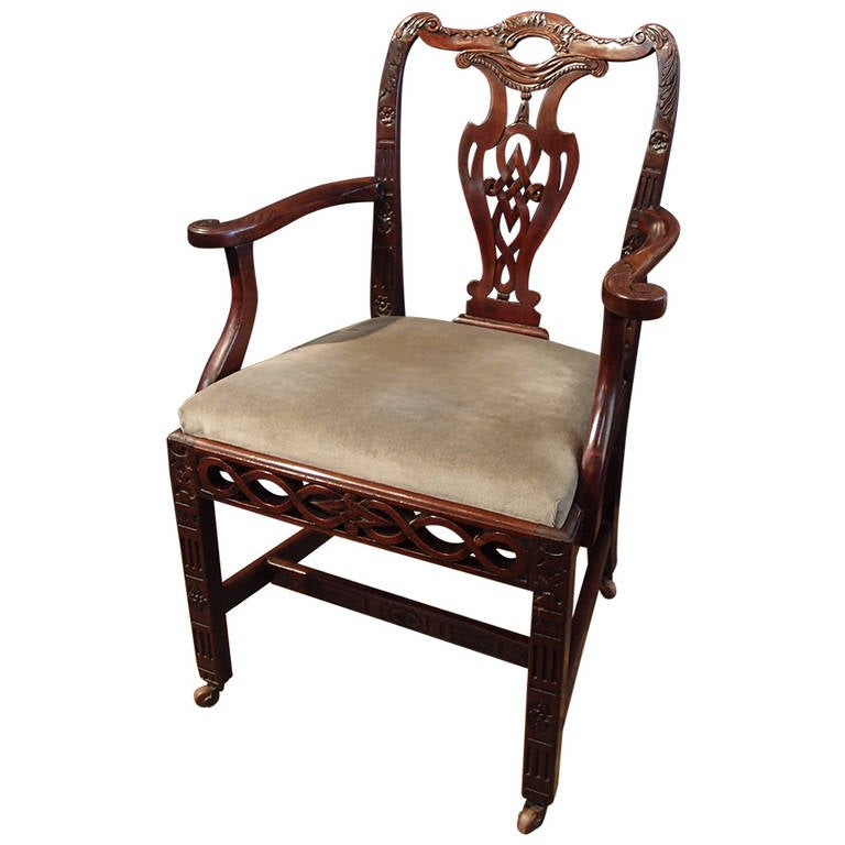 Chinese export chippendale style armchair late 18th for Chinese style furniture for sale
