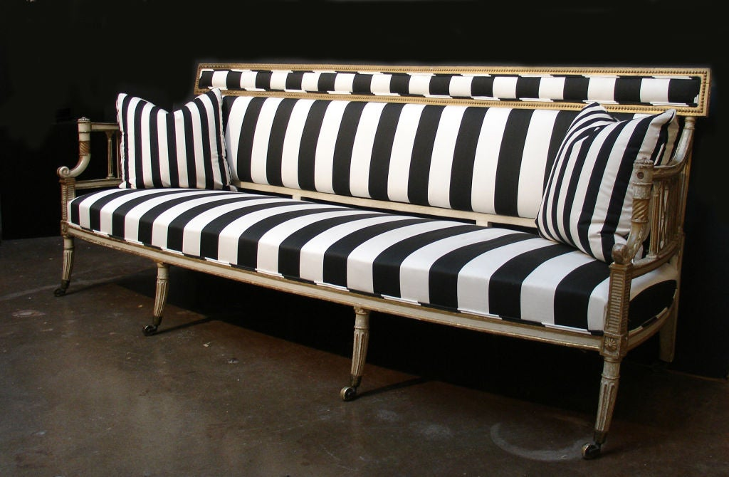 English A George III Black and White Upholstered Canape Sofa