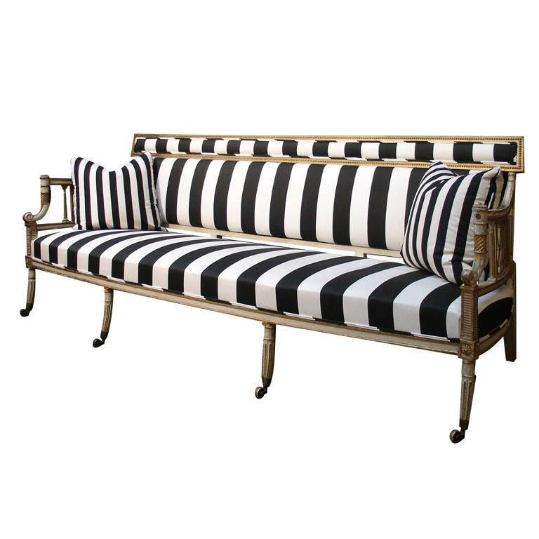 A George III Black and White Upholstered Canape Sofa
