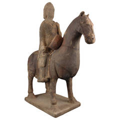 Northern Qi Pottery Model of a Millitary Horse and Rider