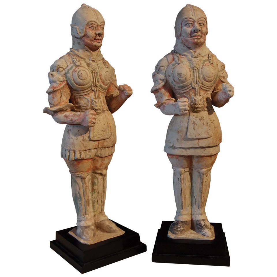 Pair of Tang Dynasty Painted Pottery Soldiers