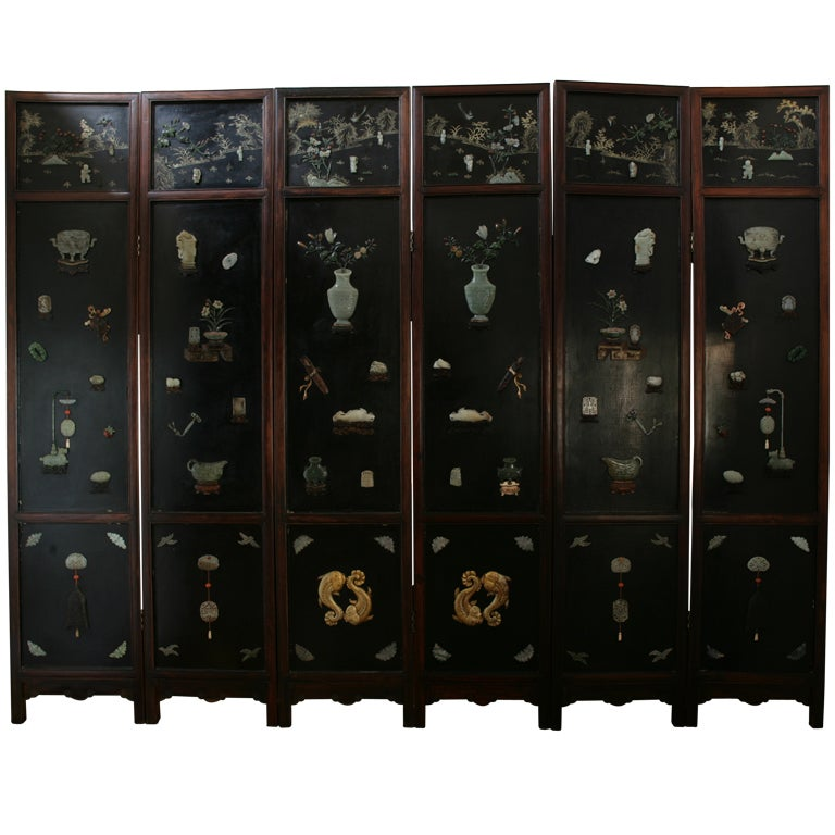 Early 19th Century Chinese Hardwood, Lacquer and Jade Six-Panel Screen