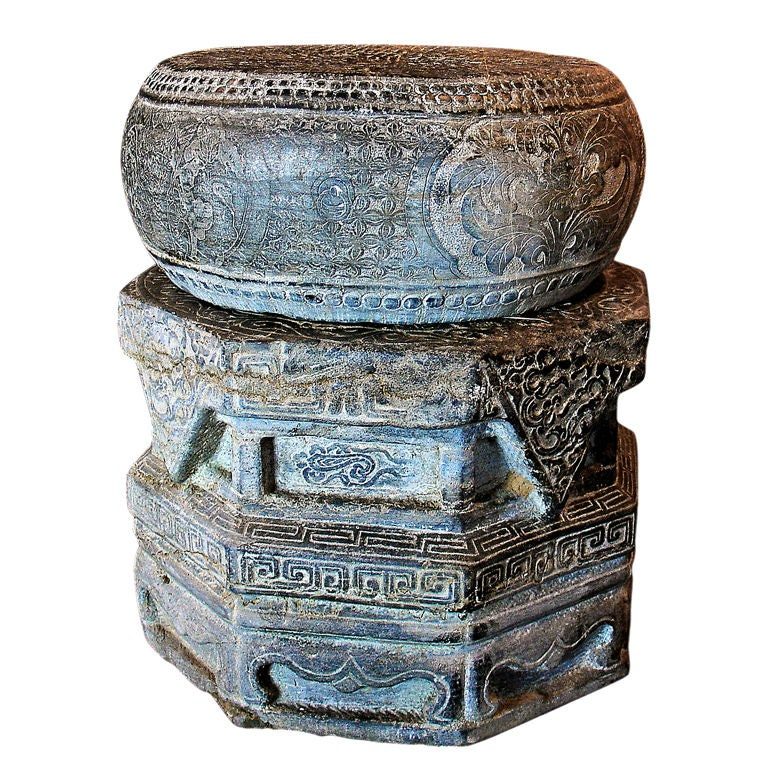 A Pair Of Chinese Carved Stone Drum Form Garden Stools Or Tables For Sale