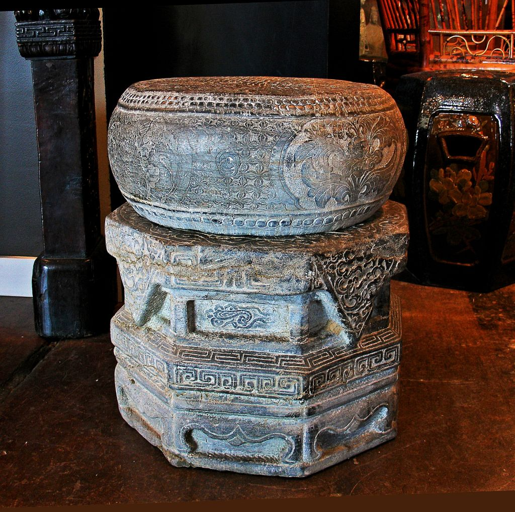 A Pair Of Chinese Carved Stone Drum Form Garden Stools Or