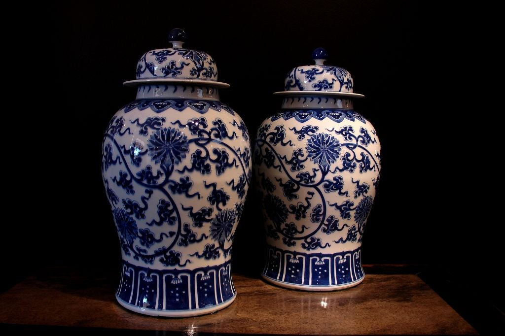 A Lovely Pair Of Chinese Hand Painted Blue And White Temple Jars Complete With Original
