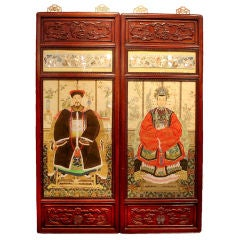 A Pair of Chinese Ancestor Portraits in Rosewood Frames