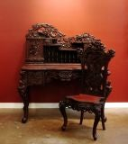 A Carved Japanese Writing Desk and Chair thumbnail 2