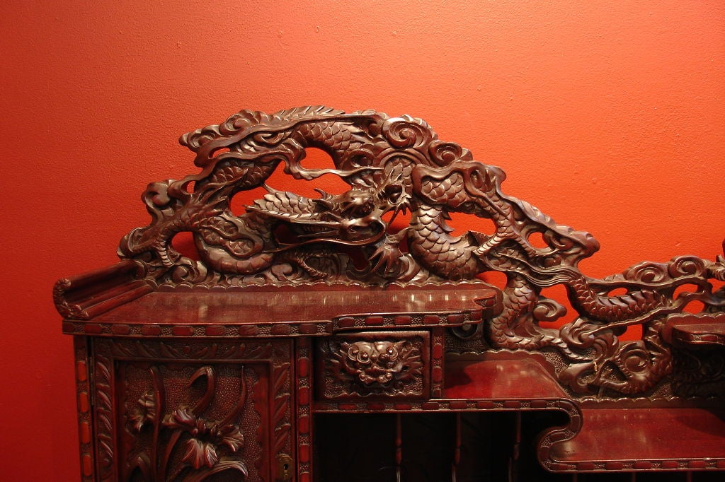 A Carved Japanese Writing Desk and Chair image 3