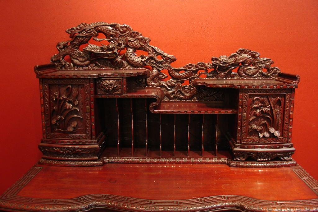 A Carved Japanese Writing Desk and Chair image 4