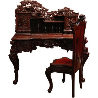 A Carved Japanese Writing Desk and Chair