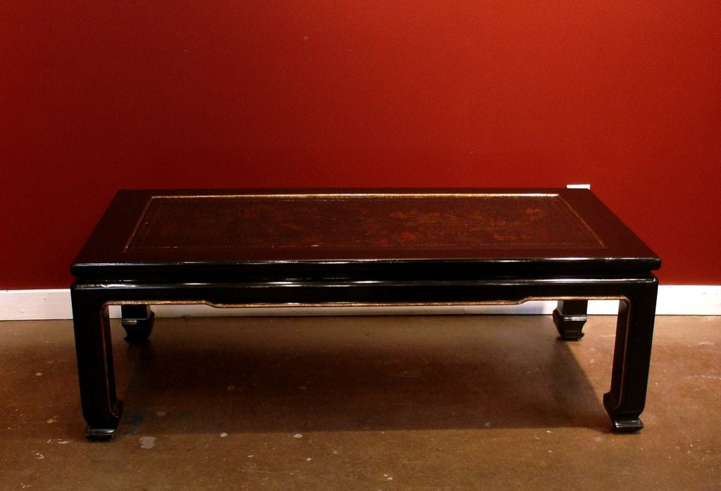 French Chinoiserie Black Lacquer Coffee Table In Good Condition For Sale In Austin, TX