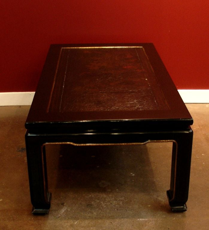 20th Century French Chinoiserie Black Lacquer Coffee Table For Sale