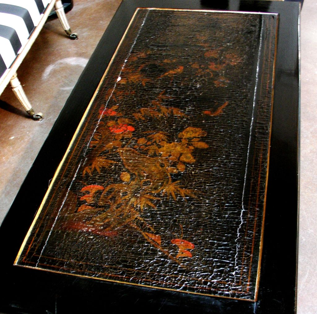 Wood French Chinoiserie Black Lacquer Coffee Table For Sale
