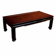 French Chinoiserie Black Lacquer Coffee Table