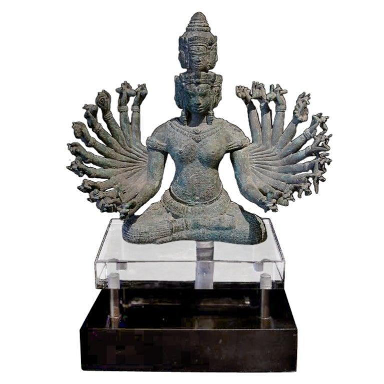 Khmer Bronze Figure of Prajnaparamita with Eleven Faces