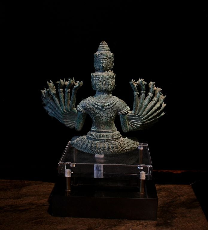 Khmer Bronze Figure of Prajnaparamita with Eleven Faces In Excellent Condition For Sale In Austin, TX